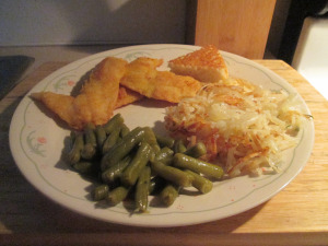 Fried Okeechobee Crappie w Hash Browns, Cut Green Beans, and 002