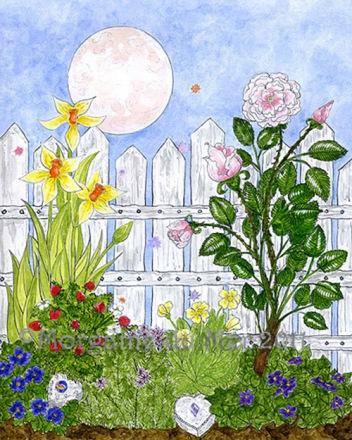 Fairy Attraction Garden Pink Full Moon Fine Art Print